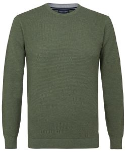 PPRJ3A0106 Profuomo groen trui legergroen army kleur structuur gebreid ronde hals
