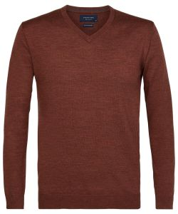 PPRJ3A0135 Profuomo roest bruin kleurig pullover merino woll v-hals boord slim fit herentrui