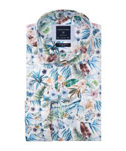 PPSH1A1001 Profuomo bloemen print overhemd flower vakantie overhemd 100% katoen