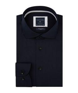 PPSH1A1015 Profuomo navy twill strijkvrij 100% katoen met stretch overhemd