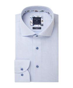 PPSH1A1024 Profuomo lichtblauw dobby structuur oxford overhemd strijkvrij met natuurlijke stretch