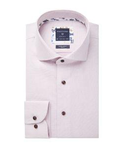 PPSH1A1027 Profuomo roze dobby oxford structuur stof overhemd strijkvrij en natuurlijk stretch