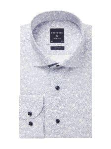 PPSH1A1028 Profuomo navy wit print overhemd 100% katoen