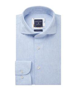 PPSH1A1035 Profuomo lichtblauw linnen katoen mix oxford structuur 55% linnen 45% katoen