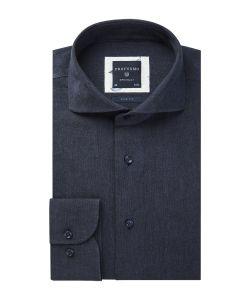 PPSH1A1037 Profuomo navy blauw donkerblauw linnen katoen 55% linnen 45% katoen luxe overhemden met oxford structuur