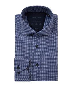 PPSH1A1051 Profuomo High Performance navy blauw overhemd oxford dobby structuur met wit strijkvrije overhemden