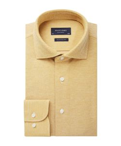 PPSH1A1063 Profuomo geel knitted overhemd yellow shirt heren overhemd