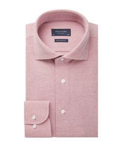 PPSH1A1064 Profuomo koraal knitted overhemd zalm roze oranje heren overhemd
