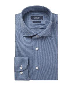 PPSH1A1065 Profuomo blauw knitted overhemd met subtiel patroon heren shirt